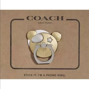 COACH Bear w/Eye Patch/Star Phone Ring Grip Stand